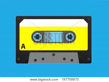 Old styled cassette tape, side A. Audio cassette tape isolated on background. Vector stock.
