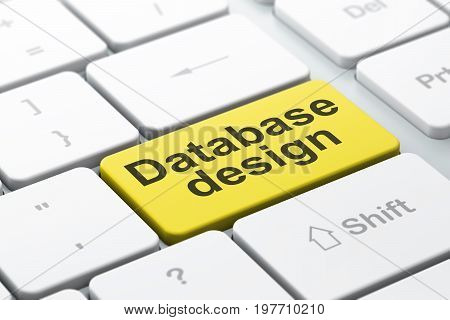 Database concept: computer keyboard with word Database Design, selected focus on enter button background, 3D rendering