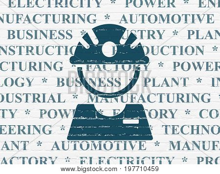 Manufacuring concept: Painted blue Factory Worker icon on White Brick wall background with  Tag Cloud