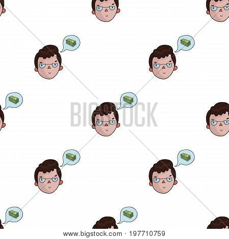 Businessman dreaming about money icon in cartoon design isolated on white background. Conference and negetiations symbol stock vector illustration.