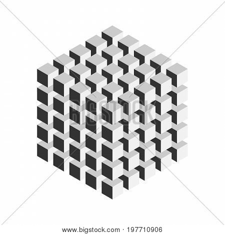 Grey geometric cube of 125 smaller isometric cubes. Abstract design element. Science or construction concept. 3D vector object.