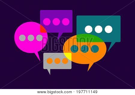 Logo of cocial network comments. Icon bubbles with text. Internet blogs communications. Vector illustration