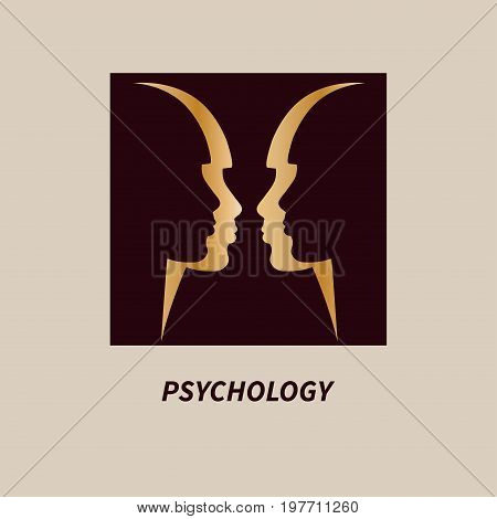 Logo psychology. Logotype psychotherapy. Icon psychoanalysis psychologist. Two of female profile. Vector illustration.