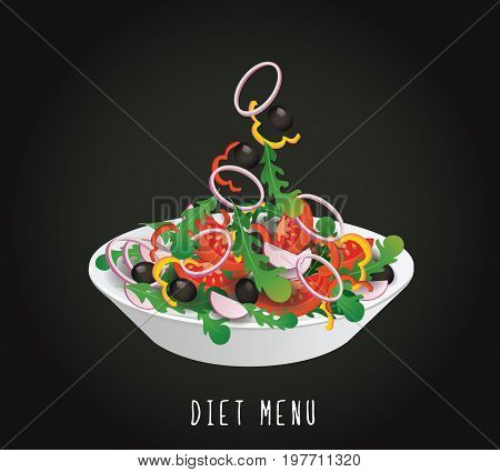 concept of diet, nutrition, healthy lifestyles - a plate with the Salad diet vegetables on a black background. Vector design for diet menu, cafe, restaurant.