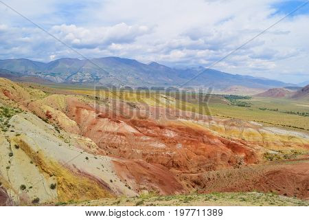 Martian landscape of Altai mountains. Colorful hills. Altay Republic Russia.