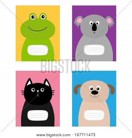 Notebook cover. Cat dog frog koala bear. Zoo animal face Cute cartoon character set Baby children education. Flat design. White background. Isolated. Vector illustration