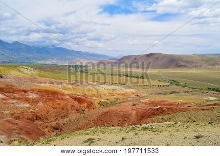 Martian view of Altai mountains. Colorful hills. Altay Republic Russia.