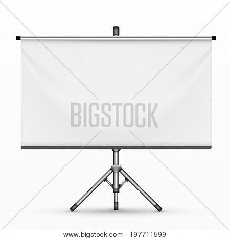 Realistic Empty Projection Screen Or Presentation Board On Tripod. EPS10 Vector