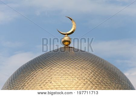 Beautiful Dome Of Mosque, Golden Shine, Against The Blue Sky