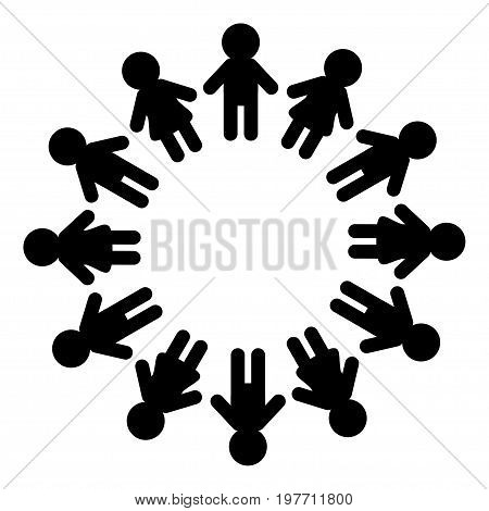 Man and woman pictogram icon sign. People round circle. Timework friendship symbol. Male Female silhouette. Black color. Boys girls holding hands. Friends forever. Flat design White background Vector