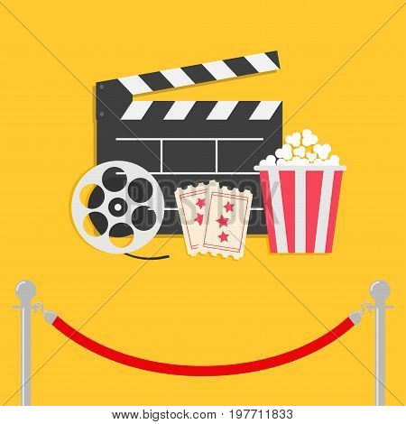 Red rope barrier stanchions turnstile facecontrol Movie reel Open clapper board Popcorn box Ticket Admit one. Three star. Cinema icon set. Flat design style. Yellow background. Vector illustration