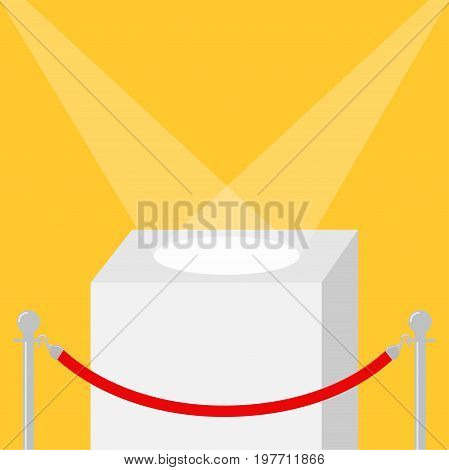 Square stage podium illuminated by spotlights. Empty pedestal for display. 3d realistic platform for design. Red rope barrier stanchions turnstile facecontrol Yellow background Template. Flat Vector