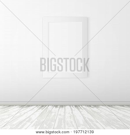 Simple White Room With Wood Floor And Frame On Wall. EPS10 Vector