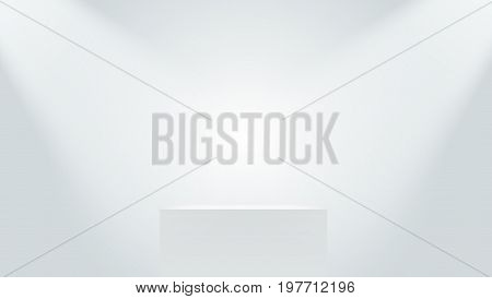 Big Realistic White Cube Pedestal With Lights. EPS10 Vector