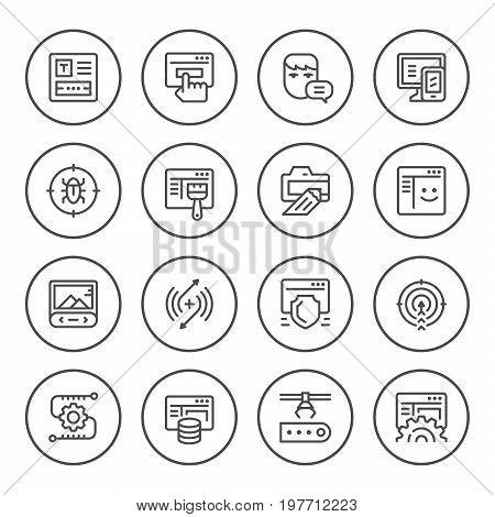 Set round line icons of web development isolated on white. Vector illustration