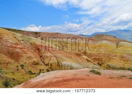 Landscape of colorful hills of Altai mountains. Altay Republic Russia.