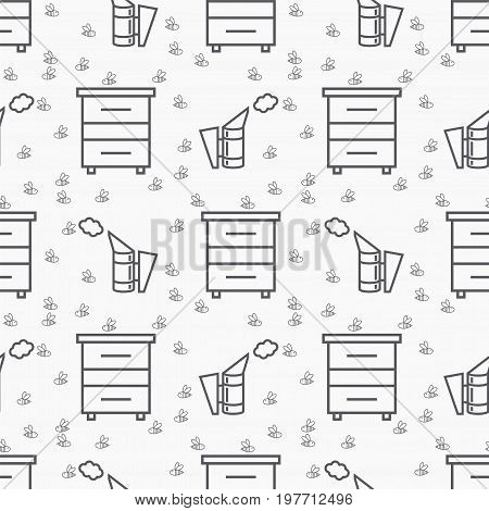 Beekeeping seamless pattern. Vector sign for web graphics.