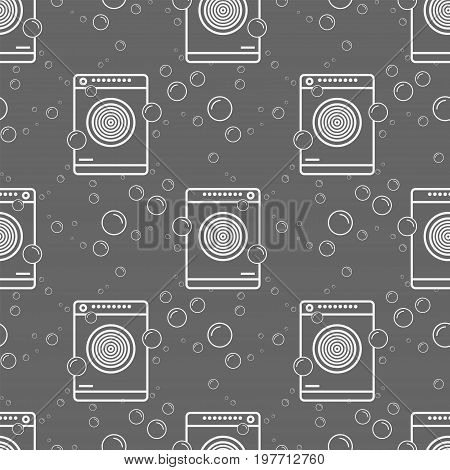 Washing machine line icon. Seamless pattern background