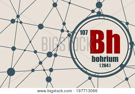 Bohrium chemical element. Sign with atomic number and atomic weight. Chemical element of periodic table. Molecule And Communication Background. Connected lines with dots.