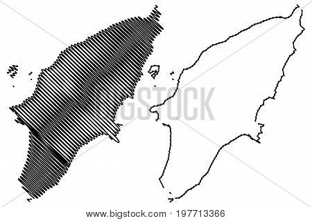 Greek island Rhodes map vector illustration , scribble sketch Rhodes island