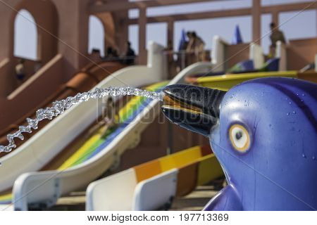 Dolphin Fountain In Aqua Park