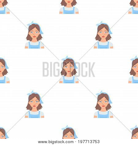 Housekeeper icon in cartoon design isolated on white background. Cleaning symbol stock vector illustration.