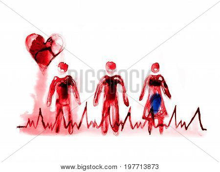 Abstract people made of beautiful watercolour effects. Heart symbol and puls trace line. Medical and health concept background.  Watercolour textured collection.