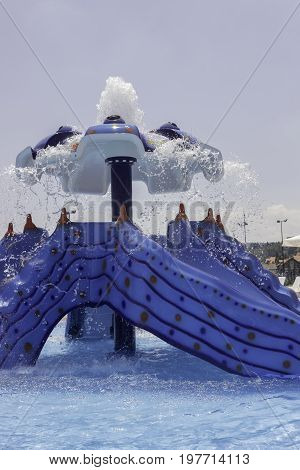 Fountain With Water Slide