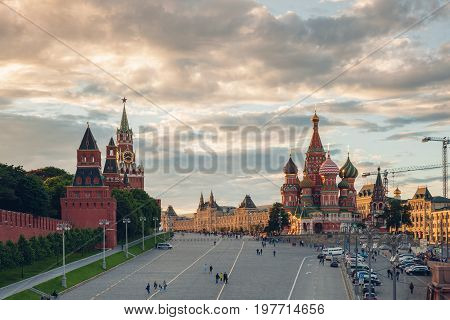 MOSCOW RUSSIA - JUNE 17: Beautiful sunset view of the Red Square on June 17 2017 in Moscow Russia.