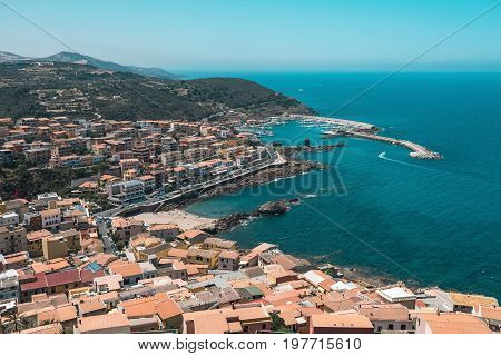 High Angle View Of Old Italian Town In Bay. Sardinia. Italy.