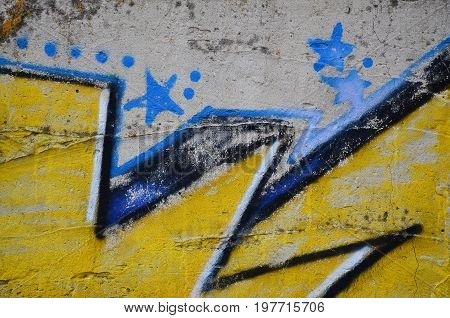 Close Up View Of Graffiti Drawing Details. Background Image On The Theme Of Street Art And Vandalism