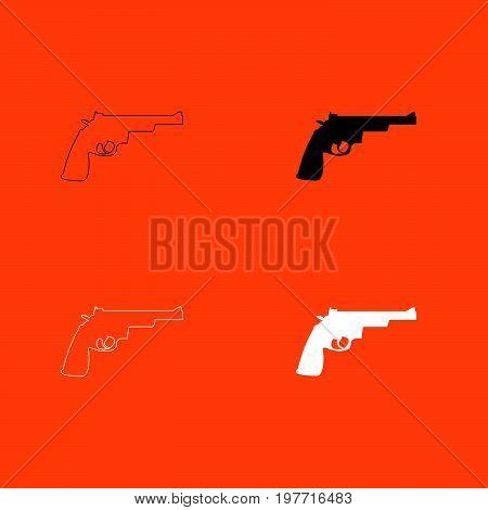 Gun revolver white and black color set  icon .