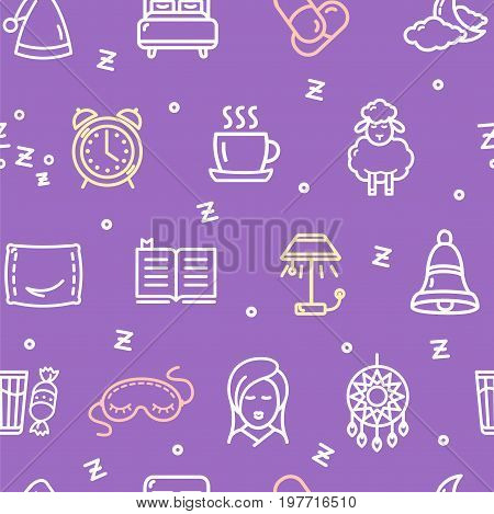 Sleeping and Insomnia Pattern Background on a Purple Concept Relaxation or Problem Bedtime. Vector illustration