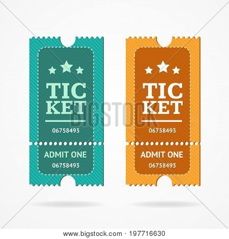 Ticket Icon Blank Admit Set Retro Old Style for Entertainment, Performance Cinema or Movie. Vector illustration