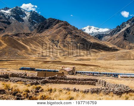 Train station in Abra la Raya at high altitude Peru