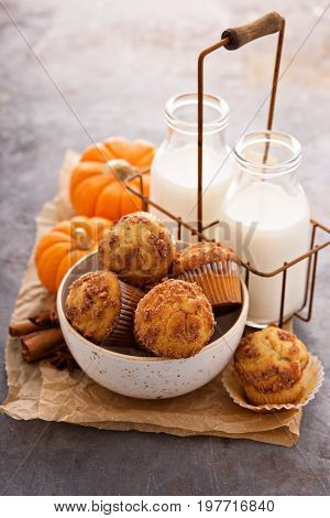 Fall pumpkin muffins with milk in bottles