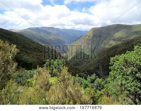Valley between the mountains inland on the island of Madeira