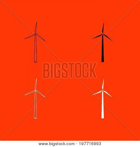 Wind turbine white and black color  icon .