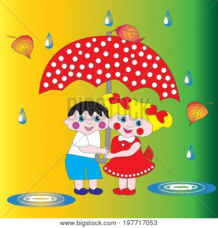 Two children a boy and a girl are hiding from the rain under an umbrella.