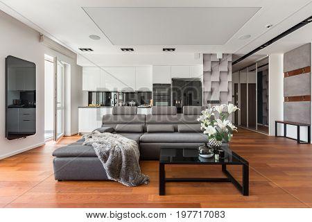 Gray Sofa And Coffee Table