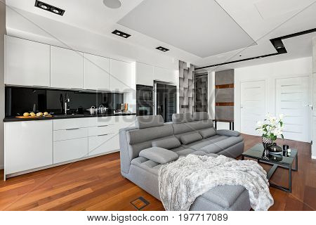 Open Kitchen With White Furniture