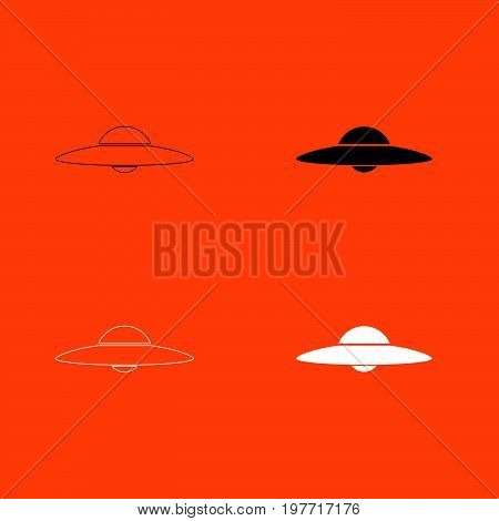 UFO. Flying saucer  white and black color icon .