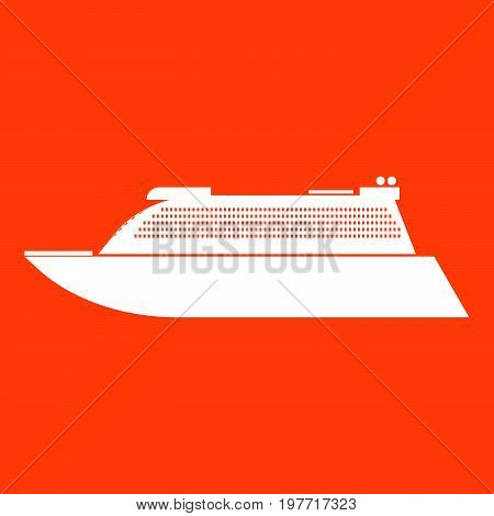 Transatlantic Cruise Liner White Icon .