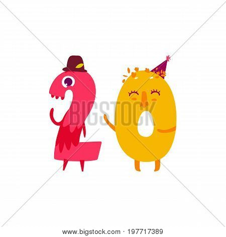 Vector cute animallike character number twenty 20. Flat cartoon illustration on a white background. Happy birthday, new year decorative numbers. Funny smiling colored math, education symbols