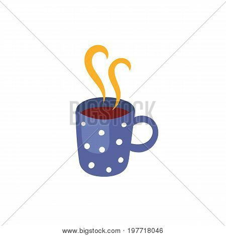 Vector cup of hot beverage. Flat, cartoon illustration isolated on a white background. Cold and flu treatment, hot tea, coffee or medicine with steam in blue dotted cup.
