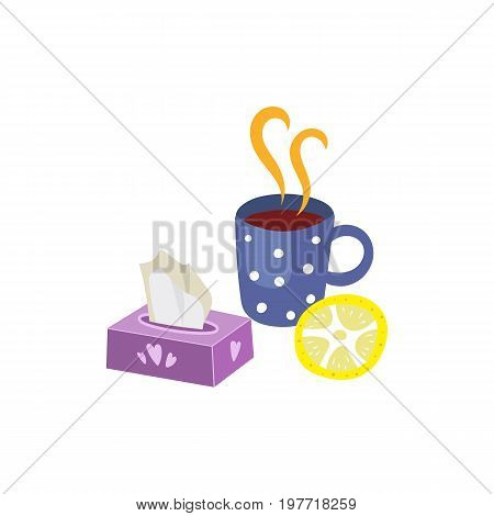 Vector flu and cold treatment set. Isolated illustration on a white background. Hot drink with lemon and napkins. Hot tea, coffe or medicine with citrus and box holder for facial tissue.