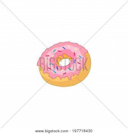 Vector donut with pink glaze icing and sprinkles flat cartoon isolated illustration on a white background. Sweet delicious dessert food, snack