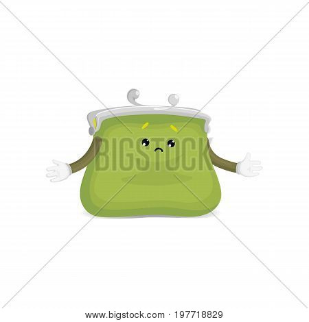 Vector money wallet, purse character flat illustration isolated on a white background. Expressive happy, emotinal sad wallet spreads his hands. Money, success wealth and richness concept