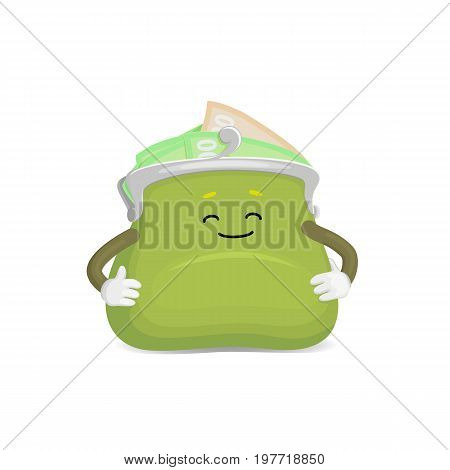 Vector money wallet, purse character flat illustration isolated on a white background. Expressive happy, emotinal satisfied full of money wallet smiling . Money, success wealth and richness concept