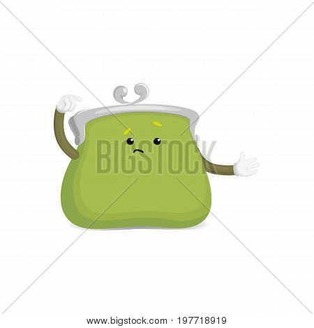 Vector money wallet, purse character flat illustration isolated on a white background. Expressive happy, emotinal empty puzzled sad wallet . Money, success wealth and richness concept